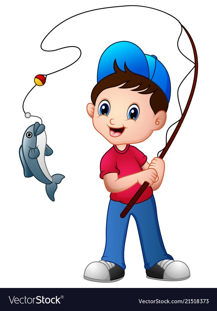 Cute Cartoon Boy Fishing Vector Image On Cute Cartoon Boy Cartoon Boy Boy Fishing
