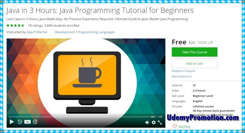 100% Free Udemy Coupon] Java in 3 Hours: Java Programming Tutorial