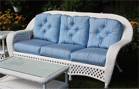 White Outdoor Wicker Sofa Montauk Collection Porch Ideas Wicker