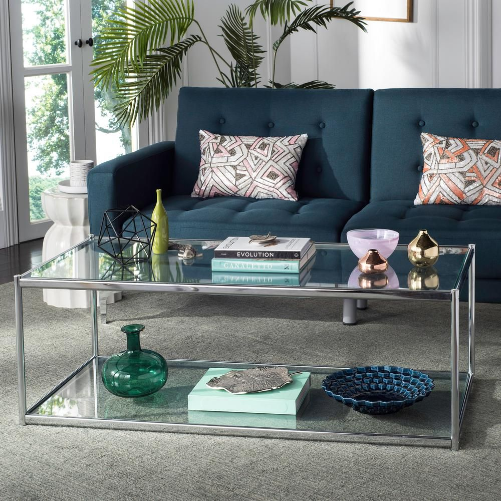 Safavieh Zola 52 In Chrome Clear Large Rectangle Glass Coffee Table With Shelf Mmt6000a The Home Depot Coffee Table Coffee Table Design Modern Glass Coffee Table [ 1000 x 1000 Pixel ]