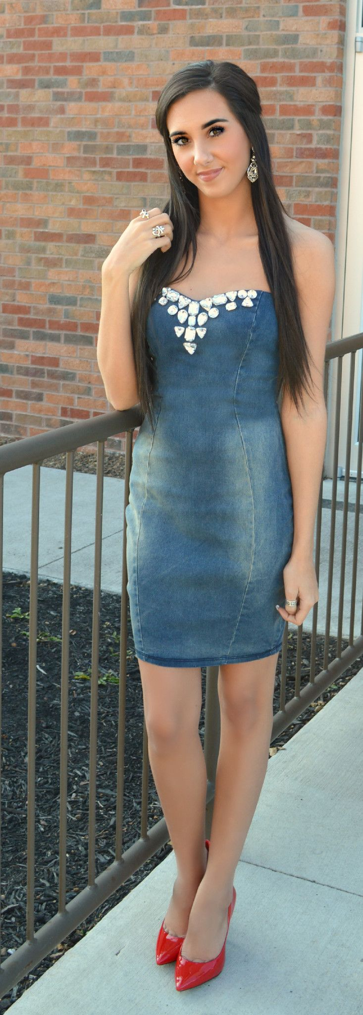 6e4f6ce1267 Strapless denim dress with sweetheart neckline embellished with large  rhinestones. - Great stretchy denim fabric. - Zips down the back.
