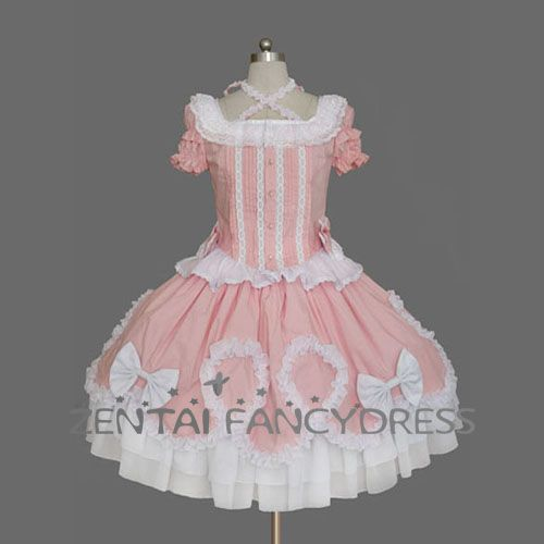 Square Neck puff Sleeves Pink Sweet Lolita Dress With Lace And Layers
