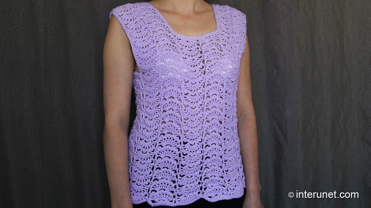 Japanese fan stitch women's top crochet pattern - crochet short sleeve lace sweater