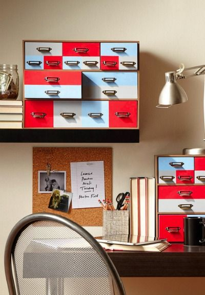 Spice up your workspace with easy desktop drawers you can match to any decor.