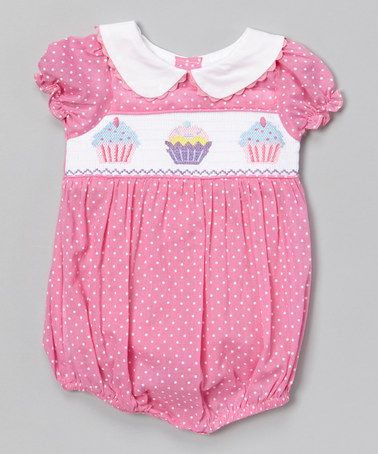 31fded54d942 Look at this  zulilyfind! Pink Cupcake Smocked Bubble Bodysuit ...