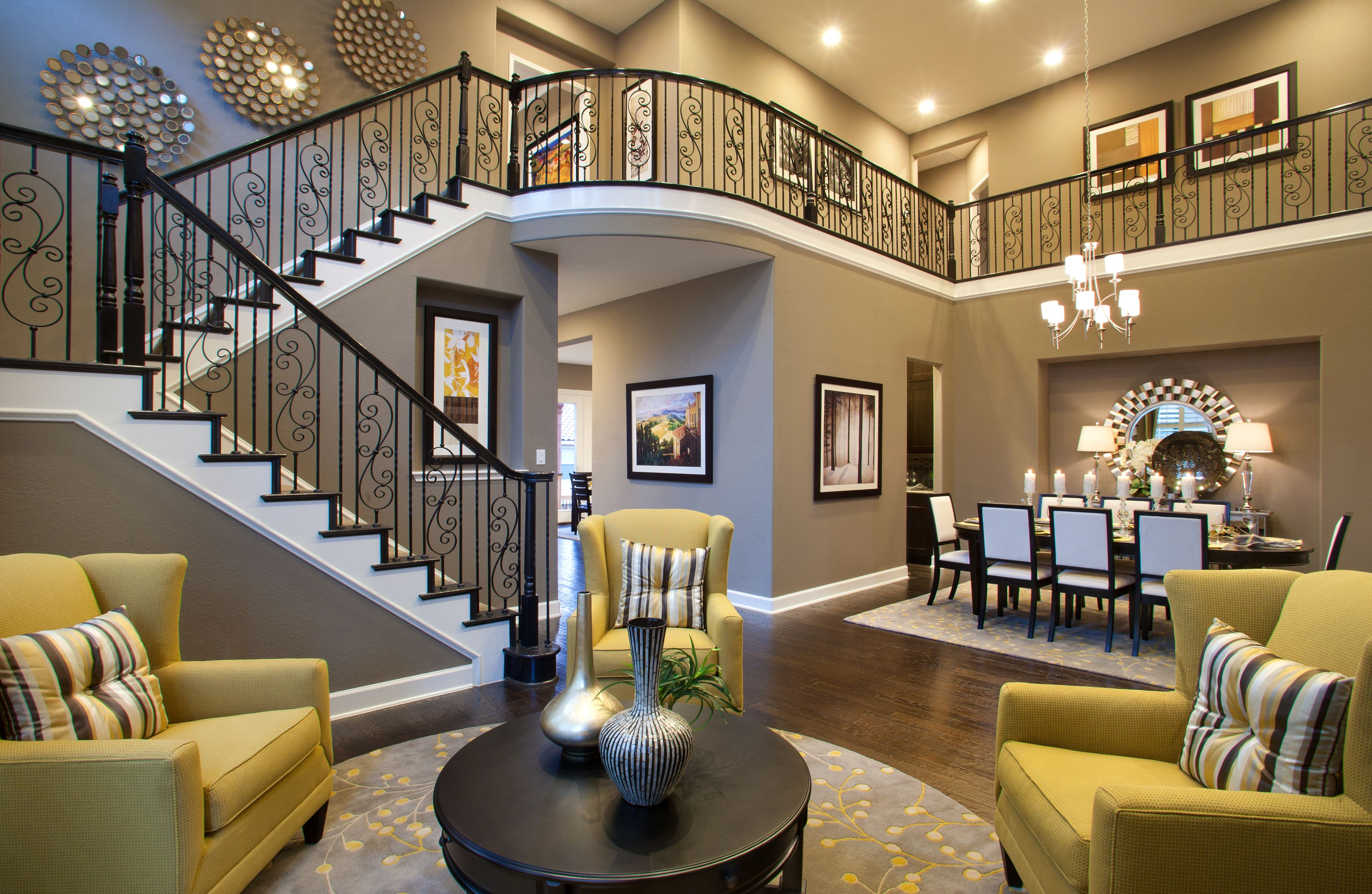 captivating stair living room dining | The Barrington - Living, Dining & Stairs | Home, House ...