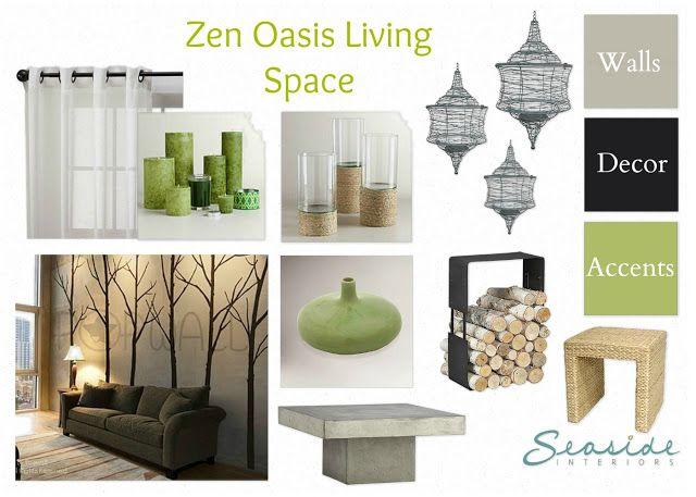 Seaside Interiors Zen Spa Retreat Living And Dining Room Mood Board 2 Ways