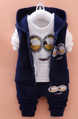 Conjunto Minions 3 peças em algodão. Calça azul marinho cintura elástica  com bolsinhos na frete. Camisa branca de manga comprida com bolsinho  canguru. 2017ef0bd2e