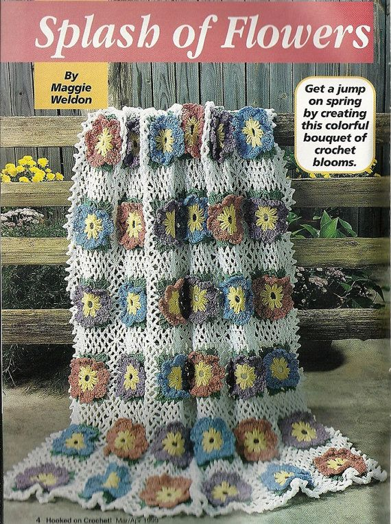 Big Flowers Afghan Crochet Pattern Home Decor By Patternmania3
