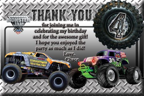 Monster Truck Grave Digger Maximum Destruction Birthday Thank You