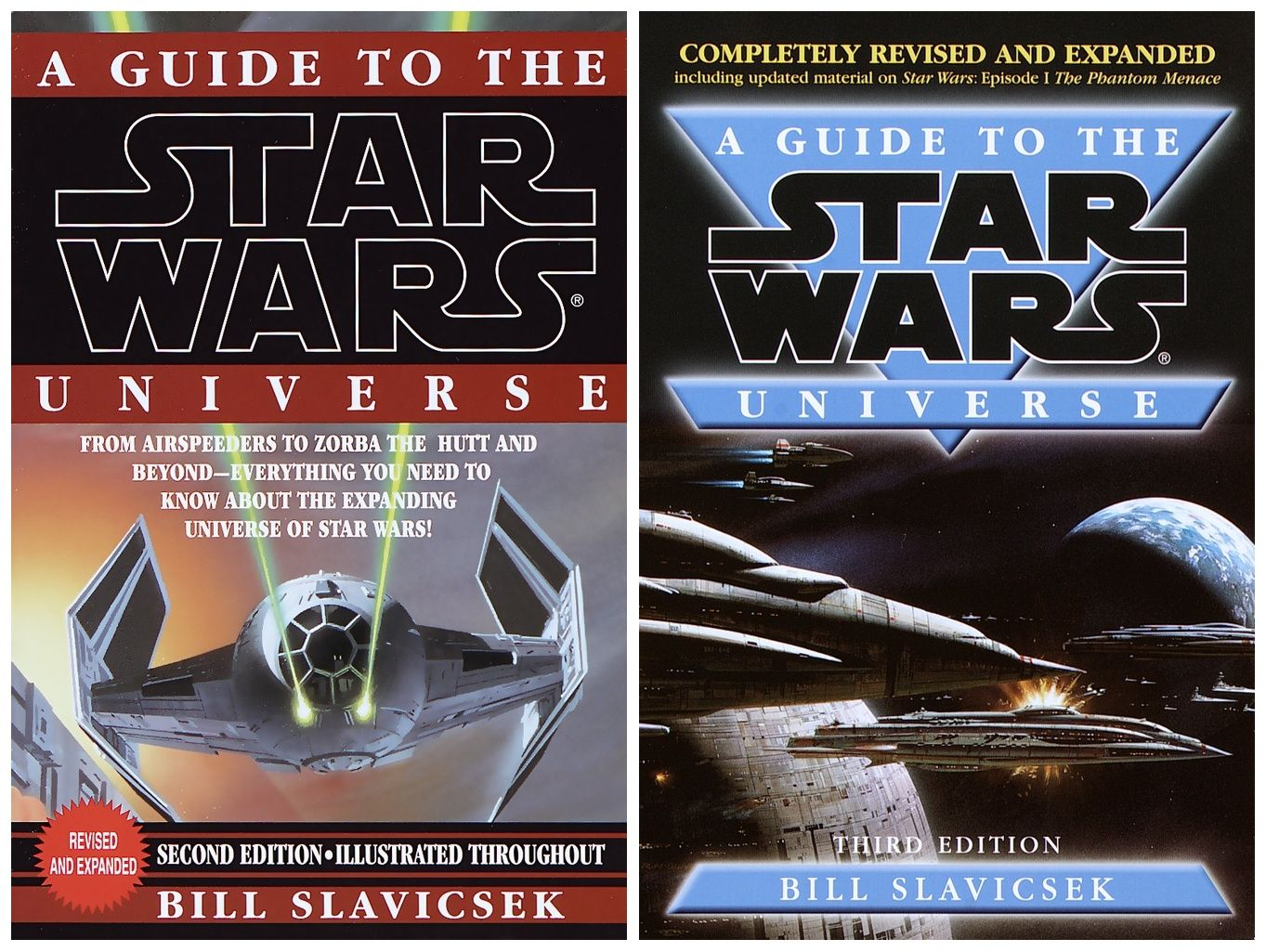 """BOOK: Ralph McQuarrie paintings are featured on the covers of the 1998 (2nd  Edition) and 2000 (3rd Edition) copies of """"A Guide to the Star Wars Universe""""  by ..."""
