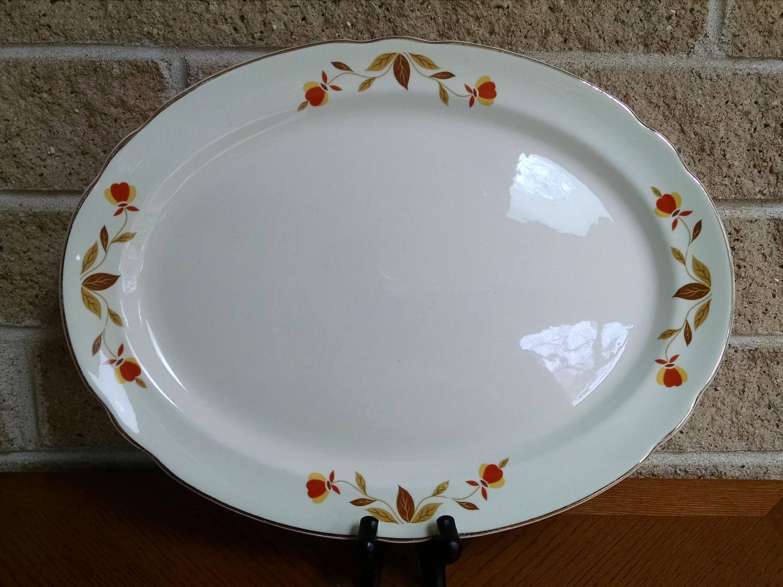 Autumn Leaf Platter Hall China Jewel Tea Company Dinnerware 13 1 2 Inch Oval Platter Vintage Plate By Classyvintageglas Relish Dish Platters Dinnerware