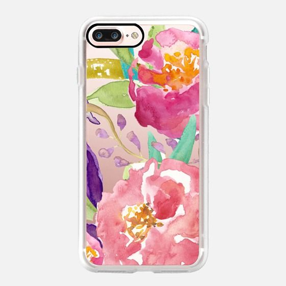 Watercolor Floral Transparent Classic Grip Case Iphone 7 Cases