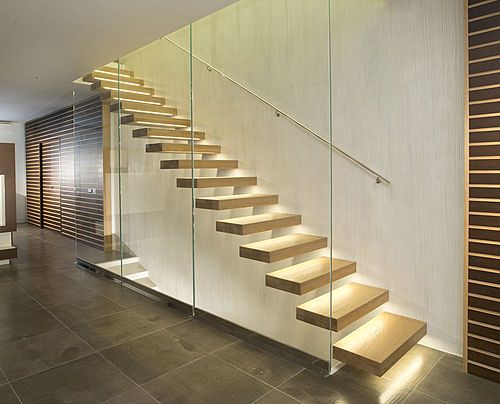 The cloud cantilever staircase comprises wooden steps that for Different kinds of stairs