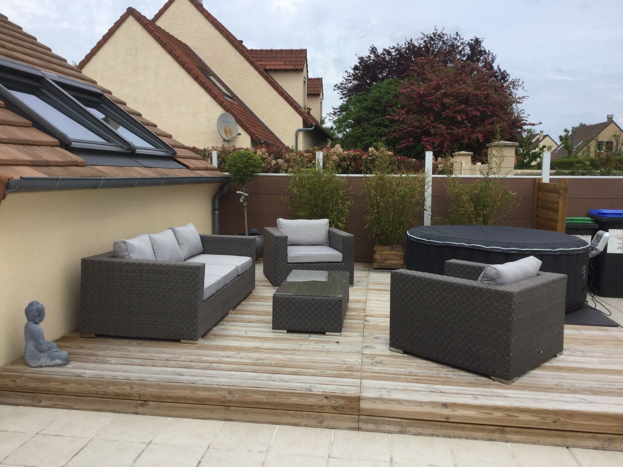 Largo : salon de jardin 5 places en résine tressée large #terrasse ...