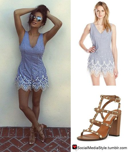 White lace dress brown sandals