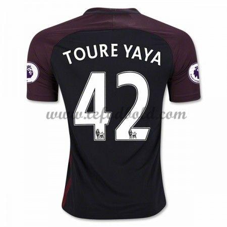 Billige Fodboldtrøjer Manchester City 2016-17 Toure Yaya 42 Kortærmet Udebanetrøje