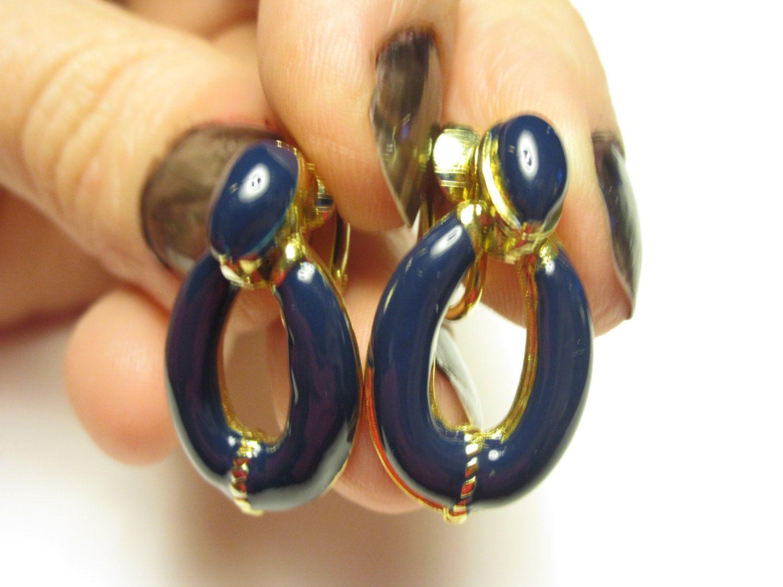 Dark blue clip on drop earrings epsteam by betsstuff on Etsy