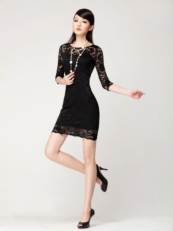 32ad3b446e Elegant Slimming Three Quarter Sleeves Boat Neck Two Piece Suit Lace Dress  For Women