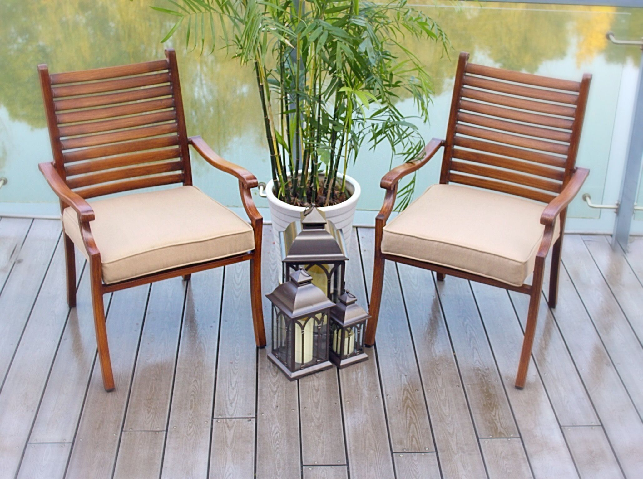 Set Of 2 Bahamian Breeze Cast Aluminum Stacking Hand Painted Wood Look Chairs