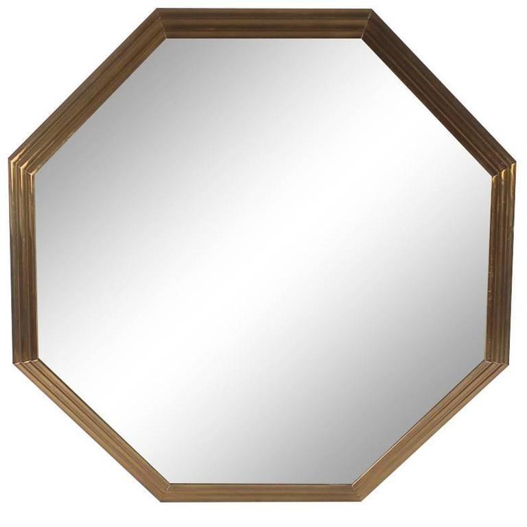 Large Mid-Century Modern Art Deco Octagonal Brass Wall Mirror 1