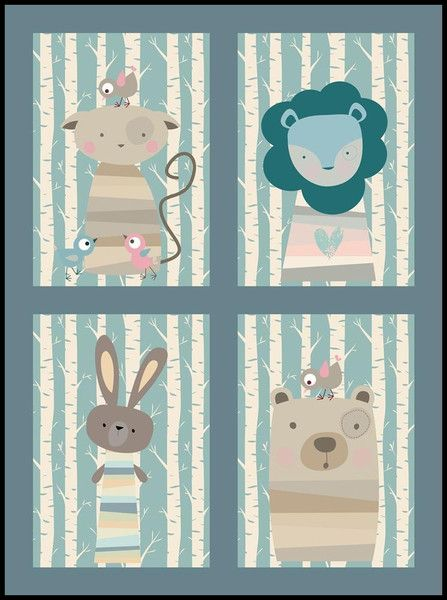 kinderzimmer bilder set tiere im wald no2 babies baby nursery art and nursery. Black Bedroom Furniture Sets. Home Design Ideas