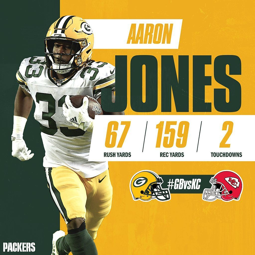 Green Bay Packers On Instagram Aaron Jones Put On A Show On Snf Gbvskc Gopackgo With Images Packers Green Bay Packers Green Bay