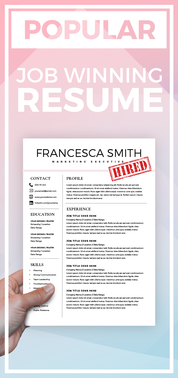 Popular  Job Winning Resume Feminine Resume  Cv Design  Resume