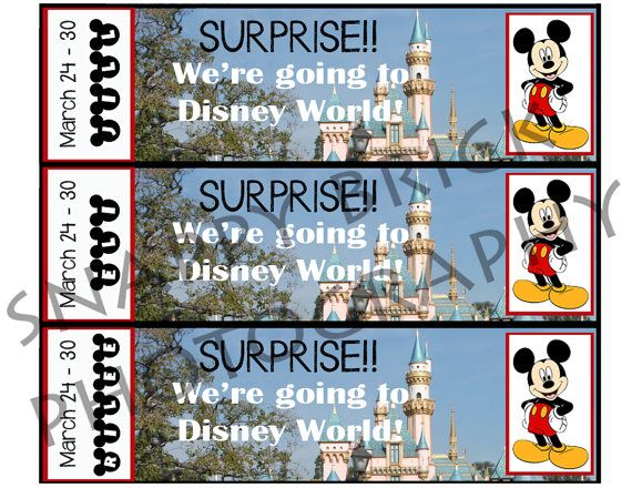 Printable Ticket to Disneyland Disney World with Custom Name Dates - fake ticket maker