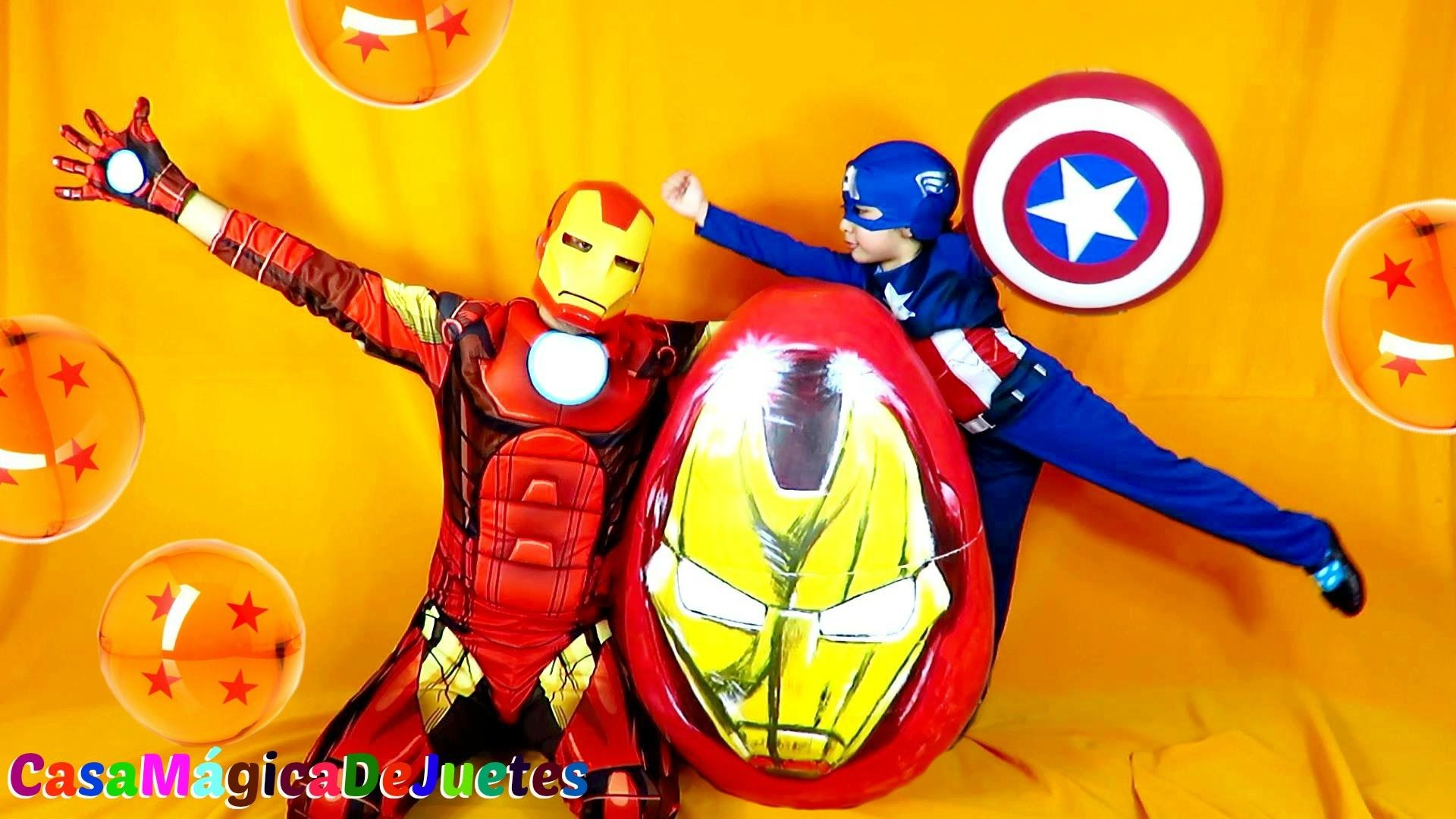 Hombre de Hierro vs Capitan America vs Huevo Super Gigante de Iron ...