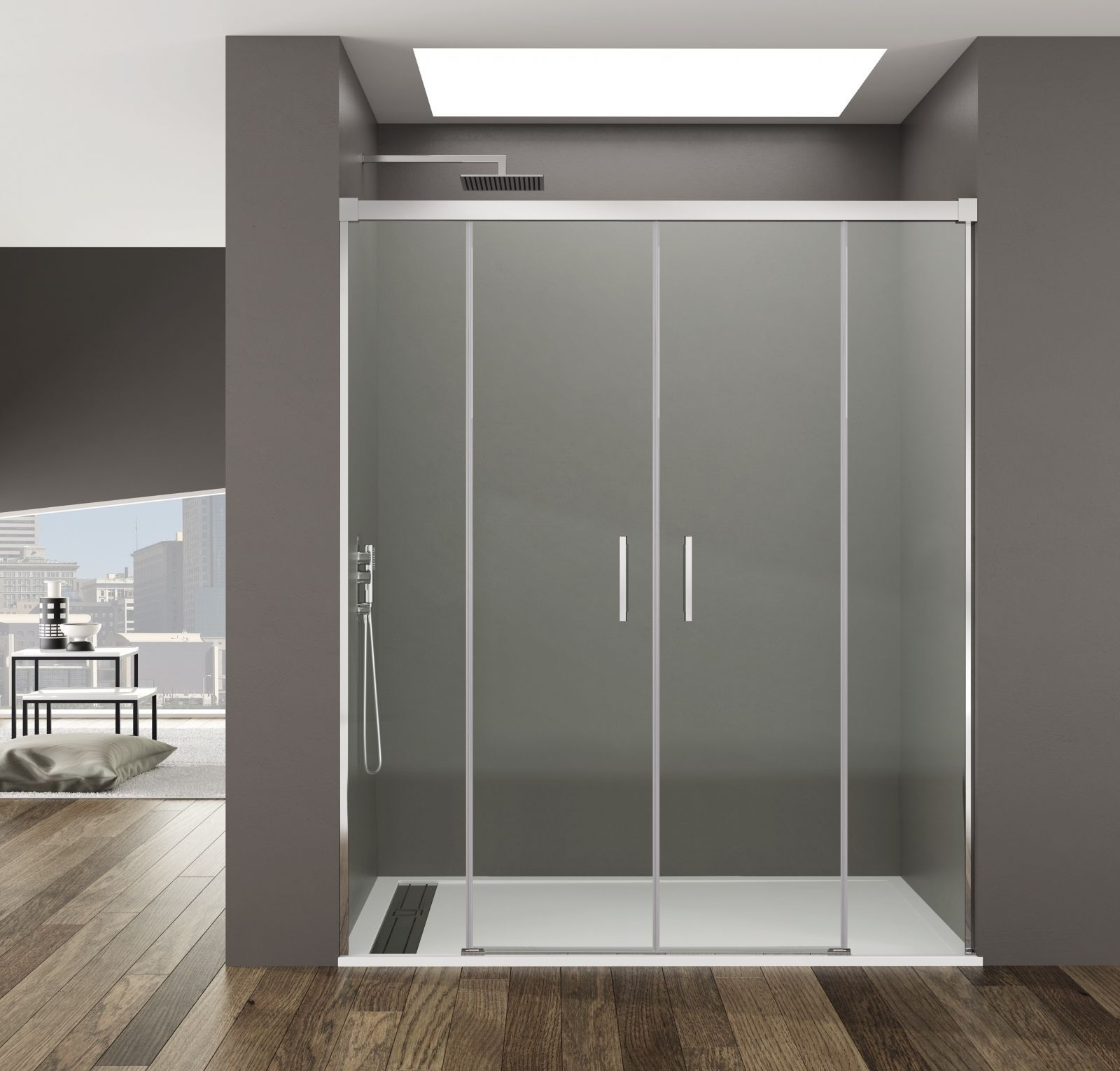 Mampara de ducha modelo BASIC SPAZIO corredera con entrada por la ...
