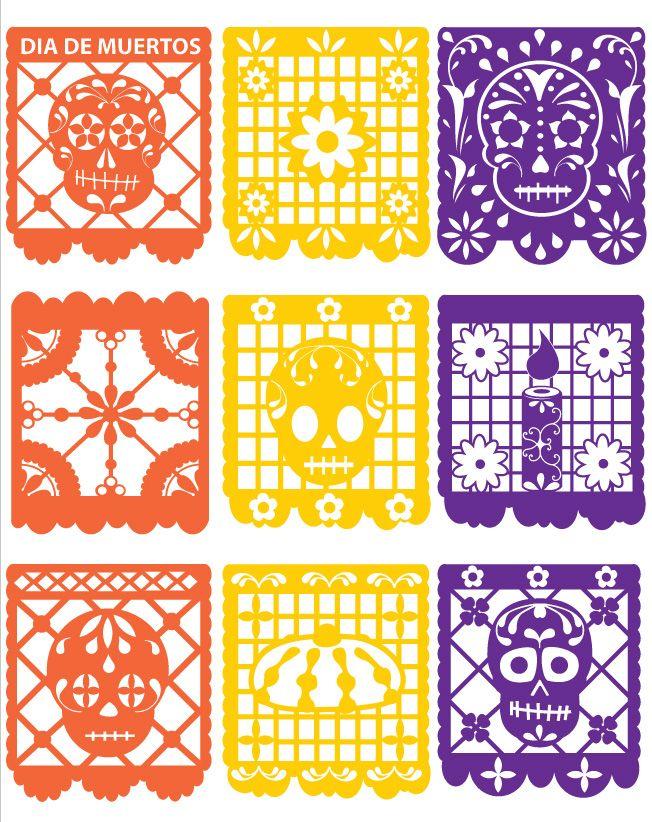 Gallery For Dia De Los Muertos Papel Picado Banners Dia De Los Muertos Paper Decorations Papel Picado