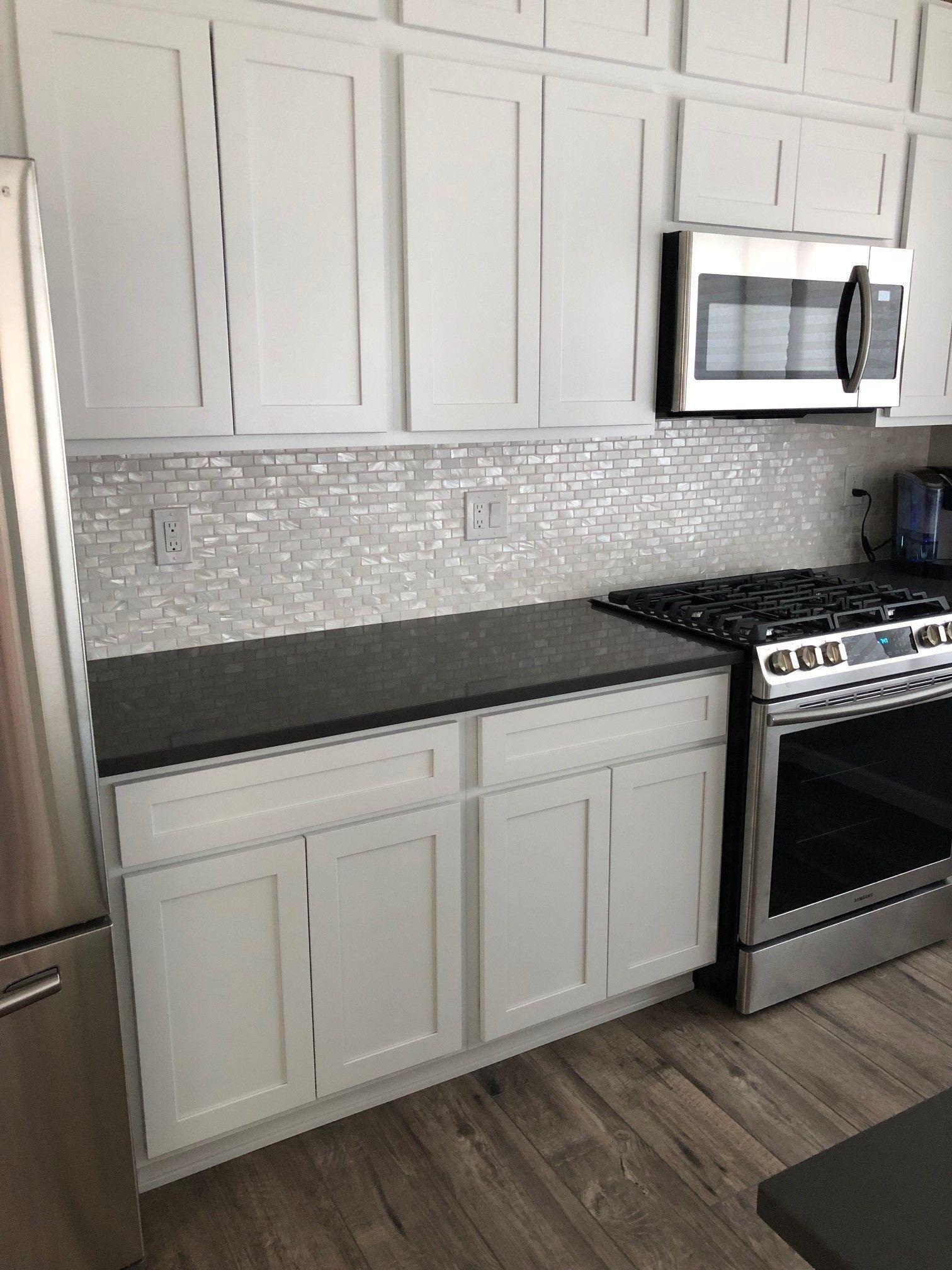 White 1x2 Pearl Shell Tile Interior design kitchen