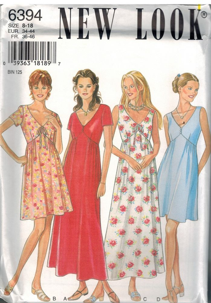 6394 UNCUT New Look Sewing Pattern Misses Dress Casual Summer Spring ...