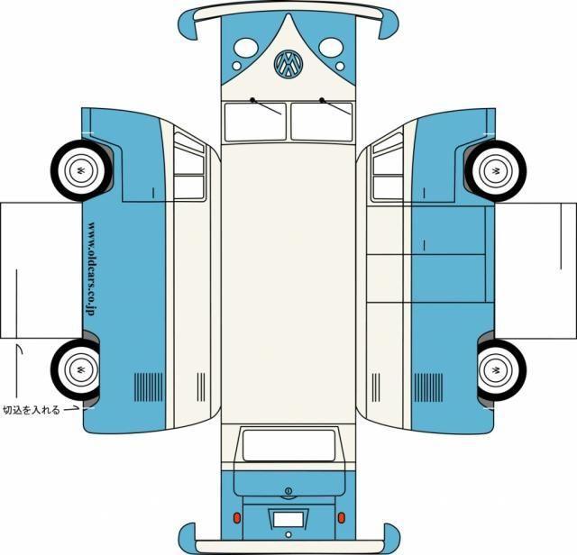 Bastelbogen Vw Bus T1 Bastelbogen Papiermodell Basteln