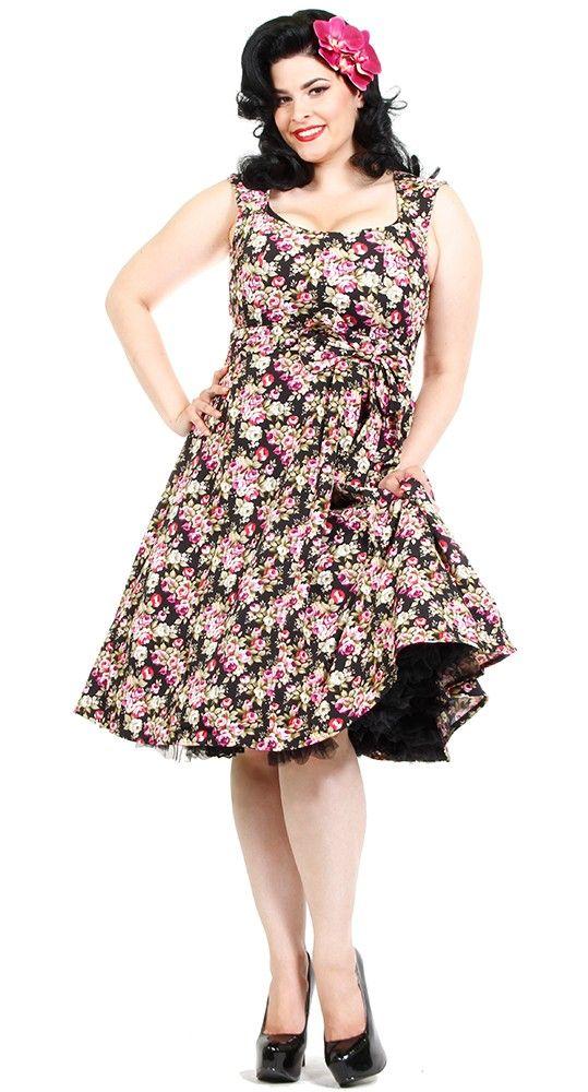 40b637603023 Lindy Bop Grace Floral Swing Party Dress in Black   Blame Betty ...