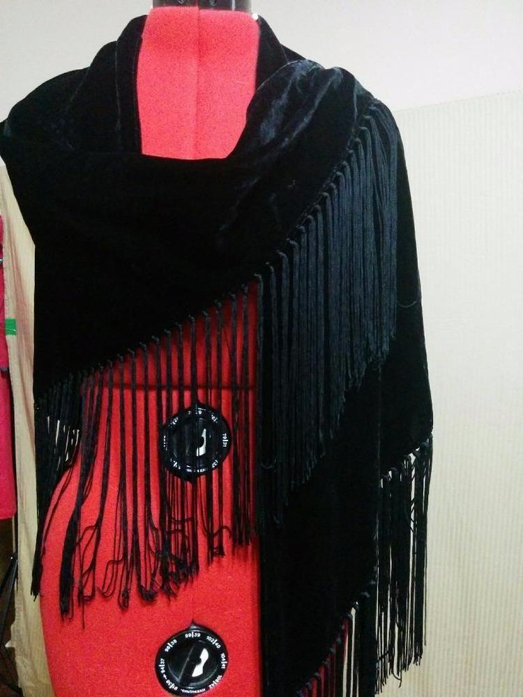 """Black Velvet Fringe Shawl Wrap Cejon 8"""" Knotted Fringe Evening Wear #Cejon #ShawlWrap"""