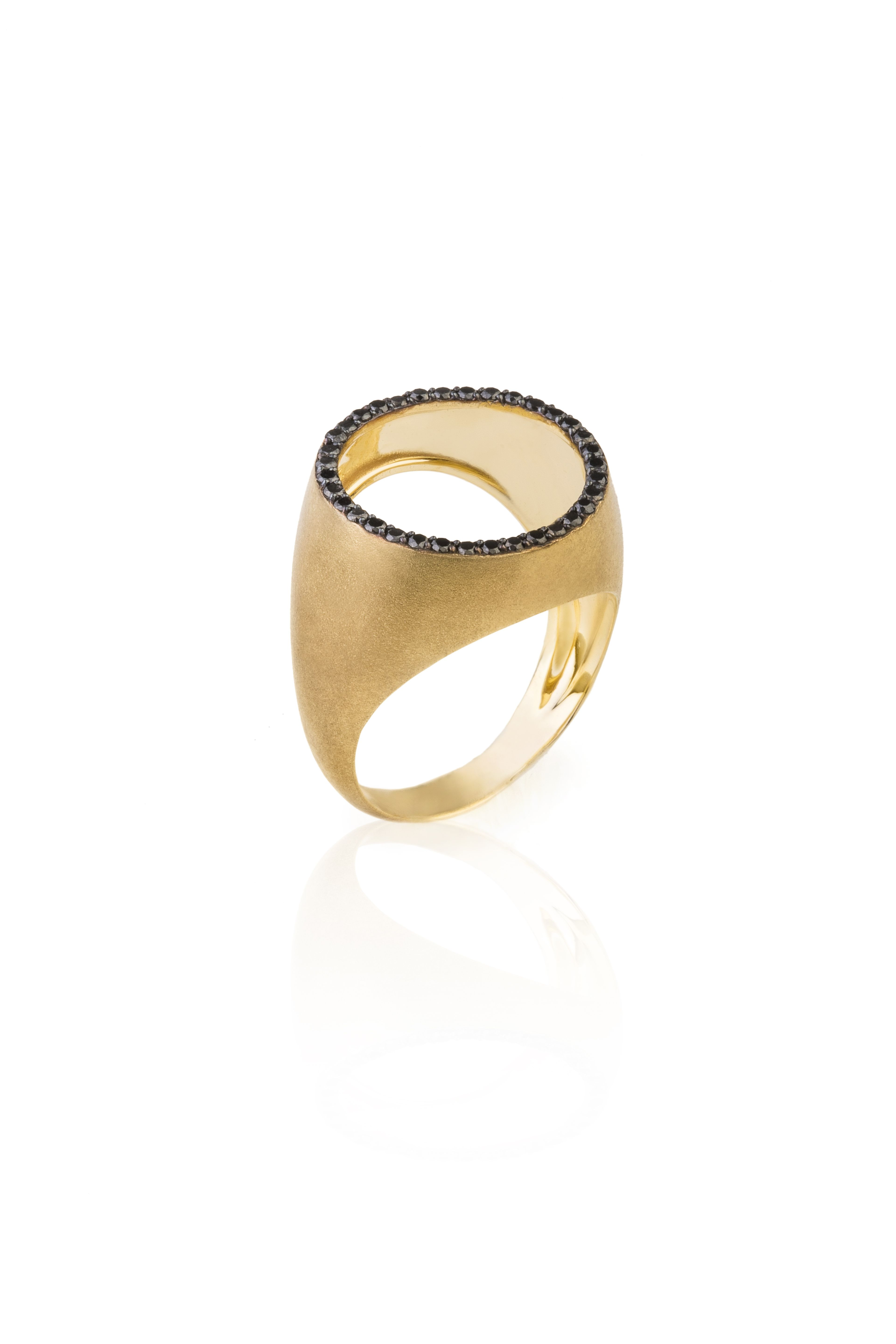 Nada G Free Me Round #ring made of #18k #gold with #black_diamonds ...