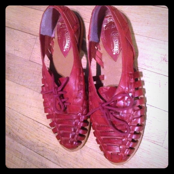 4bbaaf56b Vintage red leather huarache sandals Original red leather huarache Coasters  flats made in Brazil size 6 1 2 but can fit size 6 too. excellent condition.