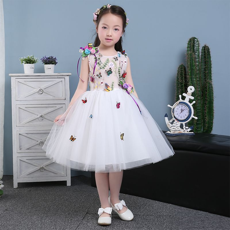 >> Click to Buy << 2017 New Arrival Luxury European Children Girls Sleeveless Princess Ball Gown Dress Kids Birthday Party Dress With Butterfly  #Affiliate