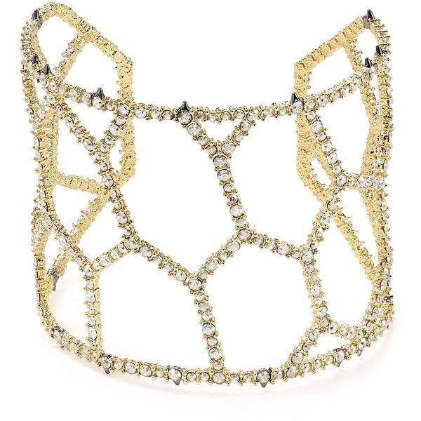 Alexis Bittar Elements Crystal Honeycomb Cuff (375 CAD) ❤ liked on Polyvore featuring jewelry, bracelets, gold, alexis bittar jewelry, alexis bittar bangle, crystal jewelry, cuff jewelry and alexis bittar