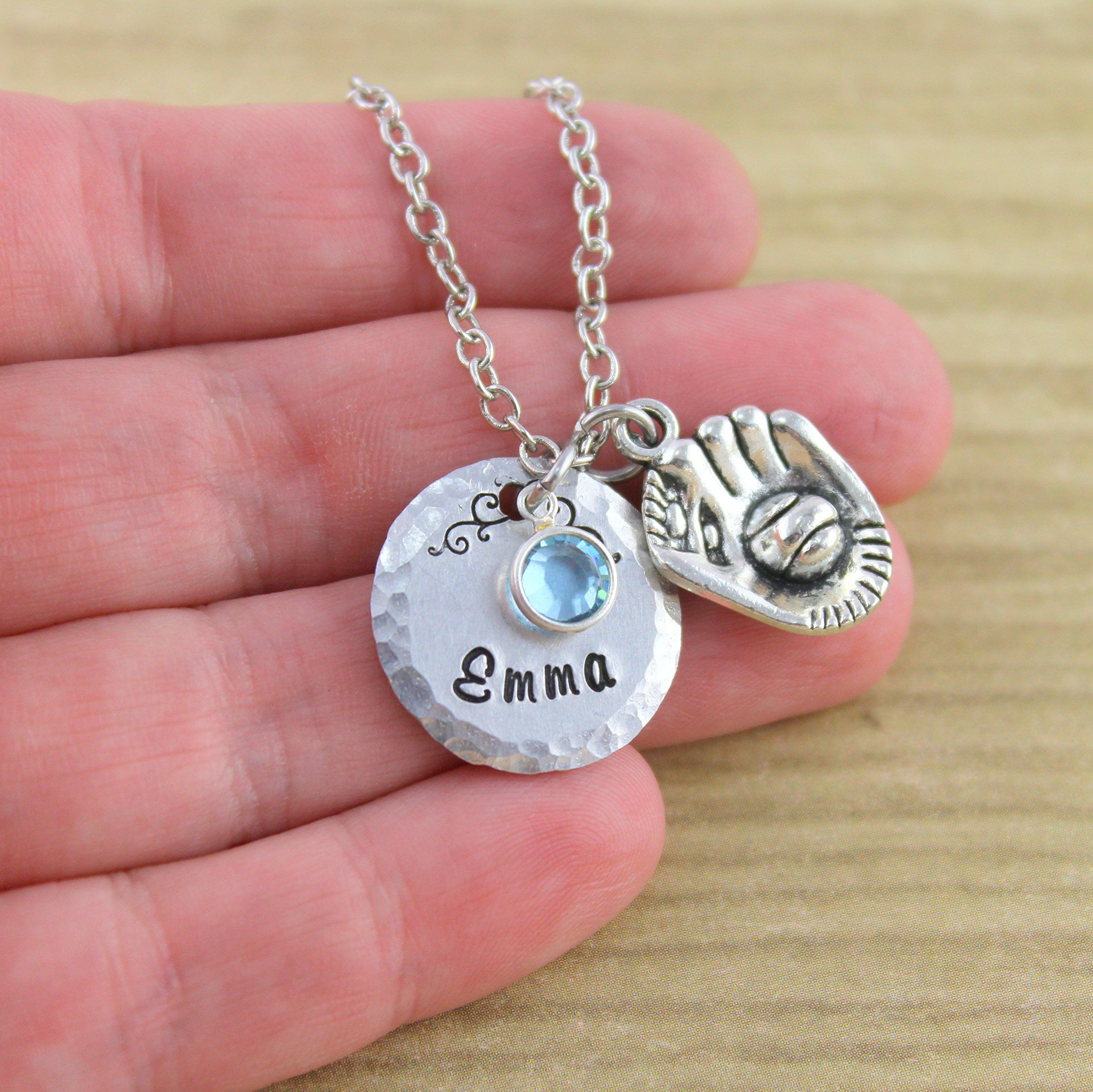 Silver personalized softball necklace catchers mitt little girls