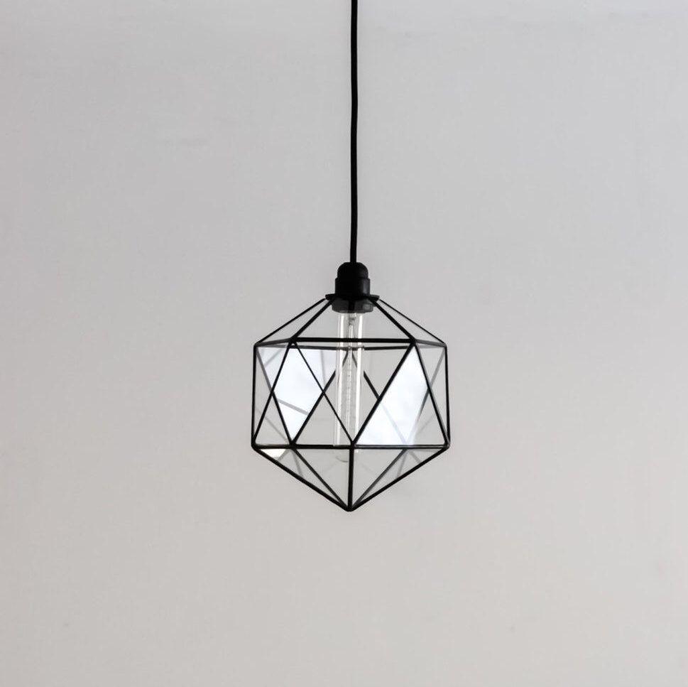 Icosahedron glass chandelier geometric pendant light modern icosahedron glass chandelier geometric pendant light modern warm retro bulb lamp 70s industrial arubaitofo Images