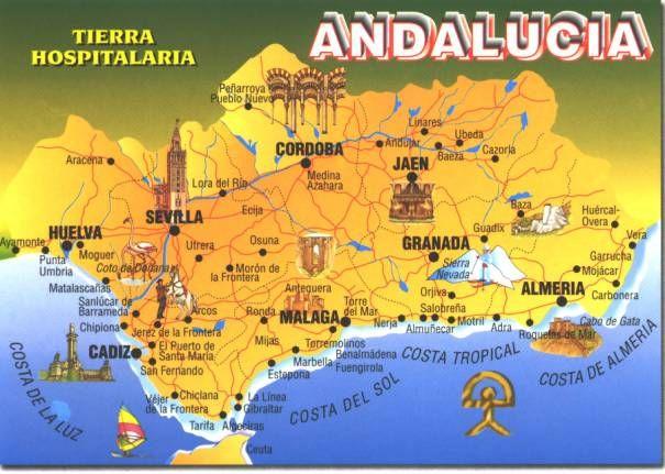 Mapa De Andalucía Con Monumentos Andalucia Spain Andalusia Spain Andalucia