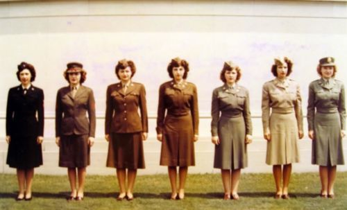 Thousands of American female volunteers stepped forward to serve in the armed forces of the United States during World War II. Here is a rare lineup photo of women wearing the uniform of various military services, including the United States Navy, Army, Air Corps, Women's Army Corps (WACs), US Coast Guard (SPARS), US Marines, and military nurses.