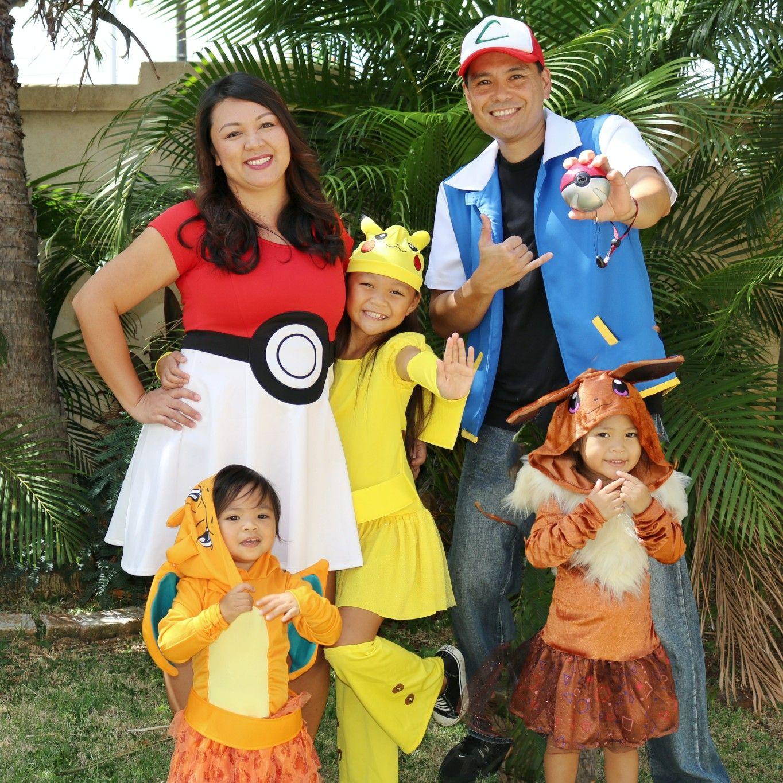 Costume For Halloween 2020 Hawaii Pokemon Family costumes: Pikachu, Charizard, Eevee, Ash Ketchum