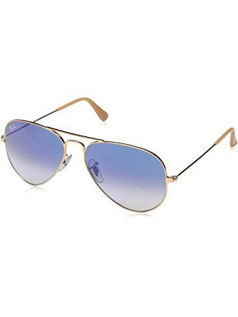 3ef1f4d174 Ray-Ban AVIATOR LARGE METAL - GOLD Frame CRYSTAL GRADIENT LIGHT BLUE Lenses  55mm Non