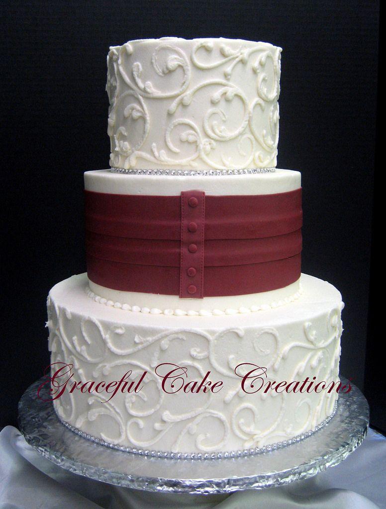 Burgundy And Ivory Wedding Cakes