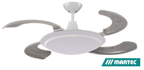 Martec Wraptor Ceiling Fan White With Retractable Blades