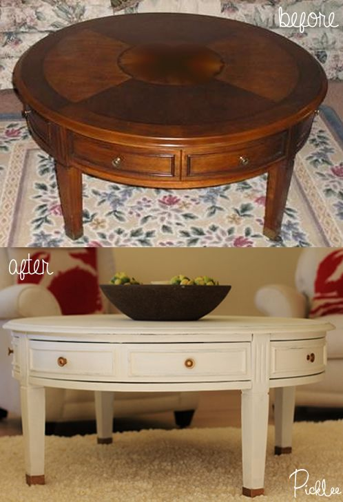 Before After Coastal Coffee Table Transformation Using Chalk Paint